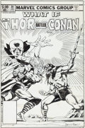 Original Comic Art:Covers, Ron Wilson and Mike Mignola What If? #39 Thor and Conan Cover Original Art (Marvel, 1983)....