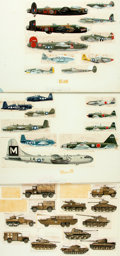 Books:Original Art, [World War II]. [Production Art]. Group of Three Sets of Production Art by Dennis Knight and H. Borst Featuring World War II M...
