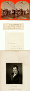 "Autographs:Authors, Author Washington Irving Signature and Stereoview. Placed upon a 4""x 6.25"" sheet of paper, the ""Sleepy Hollow"" author has w..."