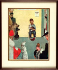 "Autographs:Artists, Norman Rockwell Reproduction of ""Waiting at the Vet"" Signed.Measuring 10.75"" x 13.25"" (sight). Here, a little boy is seen i..."