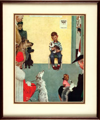 """Norman Rockwell Reproduction of """"Waiting at the Vet"""" Signed. Measuring 10.75"""" x 13.25"""" (sight). Here..."""