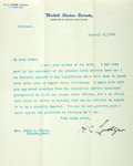 "Autographs:Statesmen, Senator Henry Cabot Lodge Typed Letter Signed ""H.C. Lodge.""One page, 8"" x 10.5"", on United States Senate letterhead, n...."