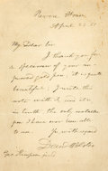 "Autographs:Statesmen, Senator Daniel Webster Autograph Letter Signed ""DanlWebster."" One page, 4"" x 6.25"", Revere House [Boston], April28, 18..."