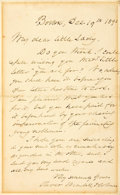 """Autographs:Authors, Poet Oliver Wendell Holmes Sr. Autograph Letter Signed. One pagewith integral blank, 4.5"""" x 7"""", Boston, December 19, 1891, ..."""