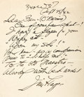 """Autographs:Artists, Artist James Montgomery Flagg Autograph Letter Signed """"JimFlagg."""" One page, 8.5"""" x 11"""", [New York], September 25,1942...."""