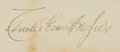 "Autographs:Statesmen, [Kenesaw Mountain Landis]. Supreme Court Chief Justice CharlesEvans Hughes Signature. Found on a 7.5"" x 11"" sheet of card s..."