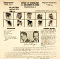 "Miscellaneous:Ephemera, John Dillinger Wanted Poster. 8.5"" x 8.25"", March 12, 1934. Placard from the U. S. Department of Justice showing Dillinger's..."