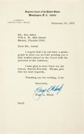 "Autographs:Statesmen, Supreme Court Justice Hugo L. Black Typed Letter Signed. One page,5.75"" x 9"", on Supreme Court of the United States letterh..."