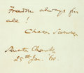Autographs:Statesmen, Senator Charles Sumner Autograph Note Signed. Written from thefloor of the Senate chamber on January 25, 1860, Senator Sumn...