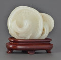 Asian:Chinese, A CHINESE CARVED WHITE JADE DOUBLE FUNGI ON A CARVED WOOD STAND.2-1/4 inches high (5.7 cm). ... (Total: 2 Items)