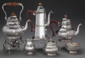 Silver Holloware, British:Holloware, A SIX PIECE ADIE BROTHERS LTD. SILVER TEA AND COFFEE SERVICE,Birmingham, England, circa 1957-1958. Marks: (lion passant), (...(Total: 6 Items)