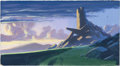 Animation Art:Painted cel background, The Lion King Pride Rock Color Key Background by GregDrolette (Walt Disney, 1994)....