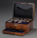 Decorative Arts, British:Other , AN ENGLISH BURL WALNUT FITTED DRESSING BOX WITH ORIGINALACCOUTREMENTS, circa 1870. 7 x 12-1/4 x 9-1/8 inches (17.8 x 31.1x...