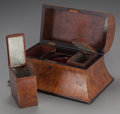 Decorative Arts, British:Other , AN ENGLISH FRUIT WOOD FITTED TEA CADDY, circa 1865. 7-3/4 x 13-5/8x 8-3/8 inches (19.7 x 34.6 x 21.3 cm). From a Private ...