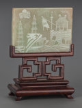 Asian:Chinese, A CHINESE CARVED GREEN JADE PLAQUE ON A CARVED MAHOGANY STAND:LANDSCAPE . 4-1/2 inches high (11.4 cm). ... (Total: 2 Items)