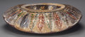 Art Glass:Other , A CONTINENTAL CUT-GLASS EGLOMISÉ AND PAINTED METAL CENTER BOWL ANDCARVED OAK STAND, circa 1850. 4 x 16 x 13 inches (10.2 x ...