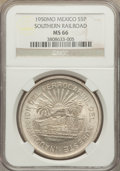 Mexico, Mexico: Republic 5 Pesos 1950-Mo MS66 NGC,...