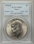 Eisenhower Dollars: , 1976-D $1 Type Two MS66 PCGS. PCGS Population (839/24). NGC Census: (474/19). Mintage: 82,179,568. Numismedia Wsl. Price fo...