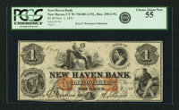 New Haven, CT - New Haven Bank $1 Nov. 1, 1853 CT-290 UNL. PCGS Choice About New 55