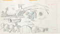 """Animation Art:Production Drawing, The Flintstones """"Cinderellast One"""" Pan Background Layout Animation Drawing (Hanna-Barbera, 1964)...."""