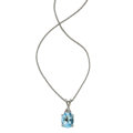 Estate Jewelry:Necklaces, Aquamarine, Diamond, White Gold Necklace. ...