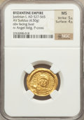 Ancients:Byzantine, Ancients: Justinian I the Great (AD 527-565). AV solidus (4.50gm)....