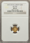 California Fractional Gold: , 1870 50C Goofy Head Octagonal 50 Cents, BG-936, Low R.5, MS63 NGC.NGC Census: (4/1). PCGS Population (6/2). ...