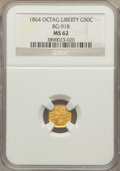 California Fractional Gold: , 1864 50C Liberty Octagonal 50 Cents, BG-918, R.4, MS62 NGC. NGCCensus: (4/1). PCGS Population (24/24). ...