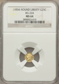 California Fractional Gold: , Undated 25C Liberty Round 25 Cents, BG-224, R.3, MS64 NGC. NGCCensus: (12/0). PCGS Population (26/1). ...