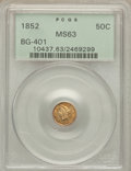California Fractional Gold: , 1852 50C Liberty Round 50 Cents, BG-401, R.3, MS63 PCGS. PCGSPopulation (25/13). NGC Census: (8/5). ...