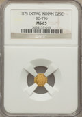 California Fractional Gold: , 1875 25C Indian Octagonal 25 Cents, BG-796, R.5, MS65 NGC. NGCCensus: (2/0). PCGS Population (1/2). ...