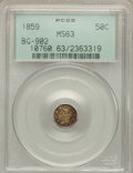 California Fractional Gold: , 1859 50C Liberty Octagonal 50 Cents, BG-902, Low R.4, MS63 PCGS.PCGS Population (28/34). NGC Census: (4/12). ...