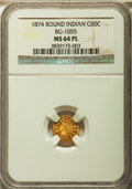 California Fractional Gold: , 1874 50C Indian Round 50 Cents, BG-1055, High R.4, MS64 ProoflikeNGC. NGC Census: (8/1). ...