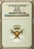 California Fractional Gold: , 1871 25C Liberty Round 25 Cents, BG-809, Low R.4, MS63 ProoflikeNGC. NGC Census: (1/5). ...