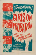 """Movie Posters:Crime, Girls on Probation (Warner Brothers, 1938). One Sheet (27"""" X 41"""").Crime.. ..."""