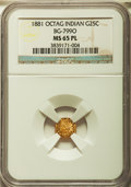 California Fractional Gold: , 1881 25C Indian Octagonal 25 Cents, BG-799O, Low R.4, MS65Prooflike NGC. NGC Census: (8/5). ...