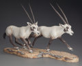 Decorative Arts, Continental, TWO BOEHM PORCELAIN ARABIAN ORYX FIGURES, 1980. Marks: BOEHM,Porcelain, Limited, Arabian Oryx, Number 18f, Number 18R. ...(Total: 3 Items)