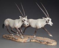TWO BOEHM PORCELAIN ARABIAN ORYX FIGURES, 1980 Marks: BOEHM, Porcelain, Limited, Arabian Oryx, Number 18f, Numb