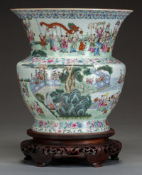 A CHINESE TONGZHI PORCELAIN ZHADOU, Yan Xi Tong, Qing Dynasty Marks: Coral red four-character mark 9 inches hig