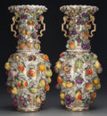 Ceramics & Porcelain, Continental:Other , A PAIR OF CONTINENTAL PORCELAIN SCHNEEBALLEN VASES, late 19thcentury. 25-1/2 inches high (64.8 cm). ... (Total: 2 Items)