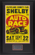 Automobilia, 1950'S URC SANCTIONED BIG CAR AUTO RACE POSTER FROM SHELBYCLEVELAND COUNTY FAIR. 1950's. 21-1/4 x 13-1/2 inches (54.0 x34....