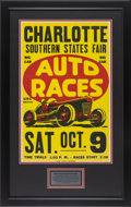 Automobilia, 1950'S URC SANCTIONED BIG CAR AUTO RACE POSTER FROM CHARLOTTESOUTHERN STATES FAIR. 1950's. 21-1/4 x 13-1/2 inches (54.0 x 3...