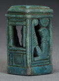 """Ceramics & Porcelain, Continental:Other , AN EGYPTIAN """"EGYPTIAN BLUE"""" NAOS AMULET. Third Intermediate Period,1070-712 B.C. . 1-1/4 inches high (3.2 cm). ... (Total: 2 Items)"""