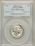 Errors, 1937 5C Buffalo Nickel -- 10% Off Center -- MS66 PCGS....