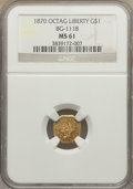 California Fractional Gold: , 1870 $1 Goofy Head Octagonal 1 Dollar, BG-1118, Low R.5, MS61 NGC.NGC Census: (3/2). PCGS Population (4/12). ...