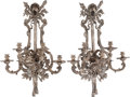 Decorative Arts, Continental:Lamps & Lighting, A PAIR OF FRENCH SILVERED BRONZE FIVE-LIGHT MILITARY TROPHY WALLSCONCES, 19th century. 36 x 16 x 14 inches (91.4 x 40.6 x 3...(Total: 2 Items)