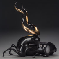 LOET VANDERVEEN (Dutch, b. 1921) Greater Kudo, 20th century Bronze with black and gold patina 24