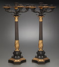 Miscellaneous:Lamps & Lighting, A PAIR OF EMPIRE-STYLE GILT AND PATINATED BRONZE SIX-LIGHT CANDELABRA, circa 1900. 29 inches high x 15-1/2 inches diameter (... (Total: 2 Items)