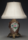 Asian:Chinese, A CHINESE GLAZED PORCELAIN AND GILT BRONZE LAMP. 29 inches high(73.7 cm). ...