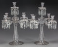 Art Glass:Other , A PAIR OF BACCARAT CUT-GLASS FIVE-LIGHT CANDELABRA, Baccarat,France, 20th century. Marks: BACCARAT, FRANCE. 22-3/4inch... (Total: 2 Items)
